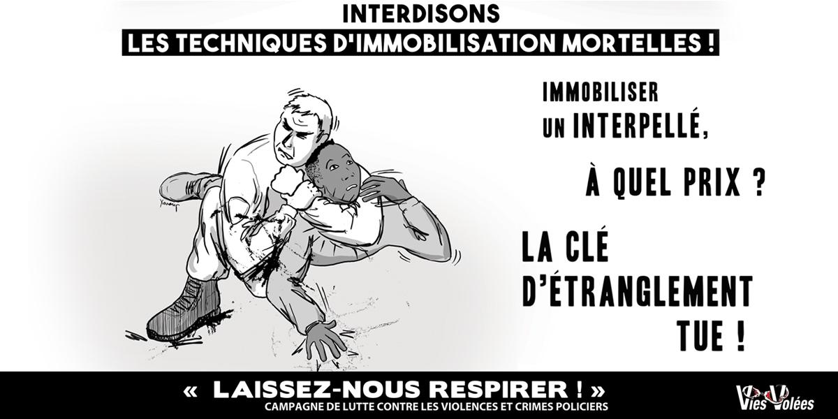 """Interdiction de la clé d'étranglement. Campagne """"Laissez-nous respirer!""""  (Vies Volées, illustration Xonanji 2018)"""