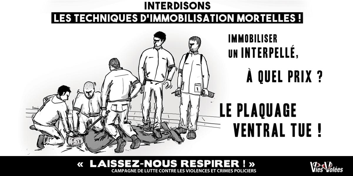 """Interdiction du plaquage ventral. Campagne """"Laissez-nous respirer!""""  (Vies Volées, illustration Xonanji 2018)"""