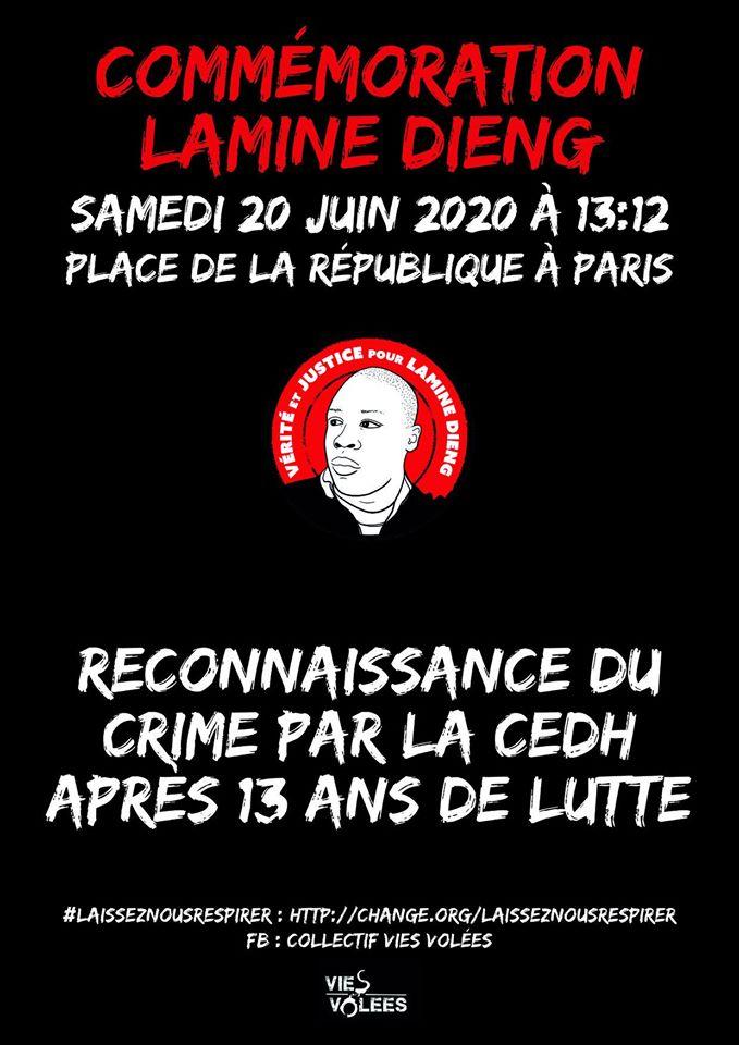 13e commémoration pour Lamine Dieng, le 20 juin 2020